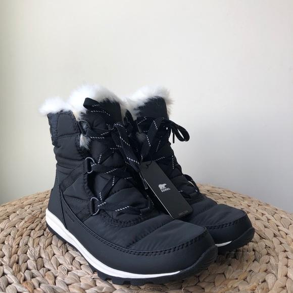 9e790b2b85ccfc New Sorel Whitney Short Lace Black Snow Boots. M 5c47d6432beb79014de21858